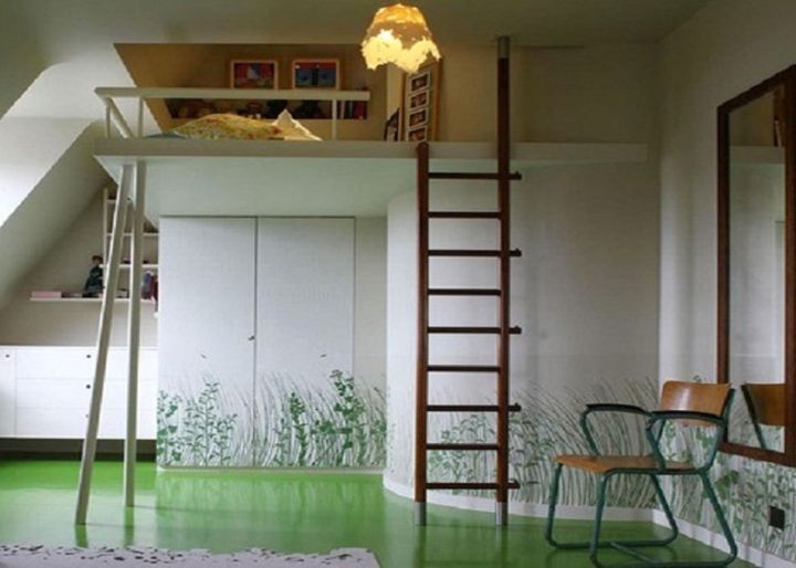 Scandinavian adult loft bed with stairs