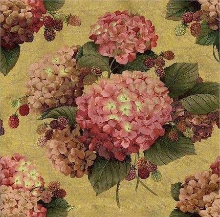 Lakehouse Hydrangeas And Raspberries Fabric 1 Yard