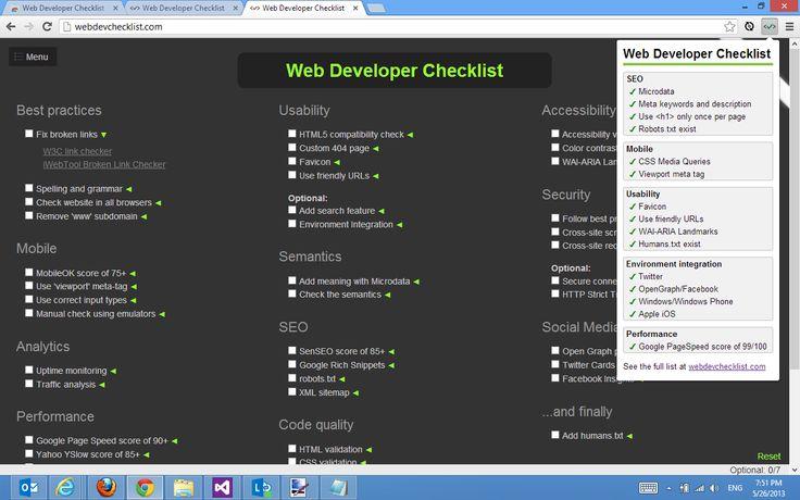 Web Developer Checklist. Extensión que ofrece una lista de verificación de tareas de desarrollo web y consejos con mejores prácticas.