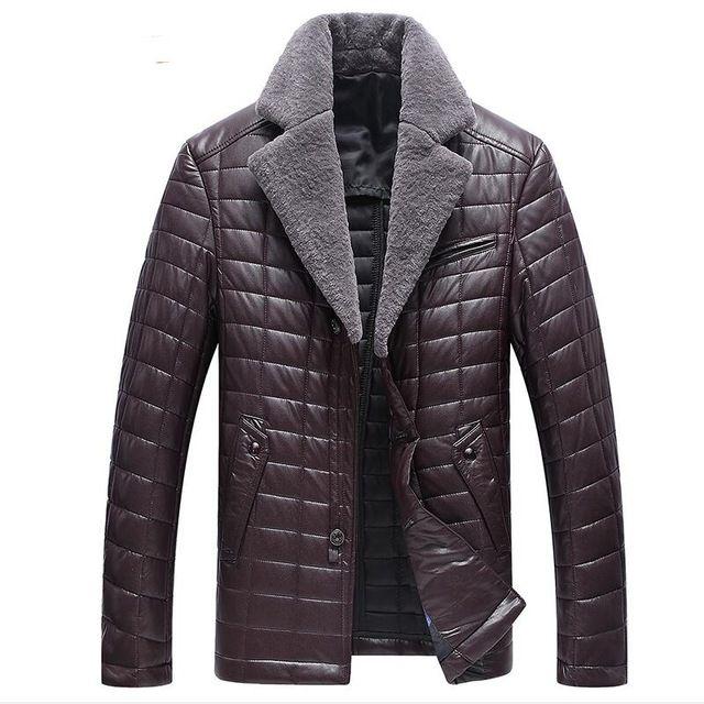 M-3XL!!! Abrigo De Piel para hombre 2016 Moda Temperamento de Alta gama de Los Hombres En Invierno Para Mantener Caliente Del Invierno de la Chaqueta de Aviador de Cuero chaqueta de Los Hombres