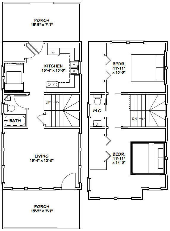 16x30 Tiny House -- 2 Bedroom -- PDF Floor Plan -- 901 sq ...