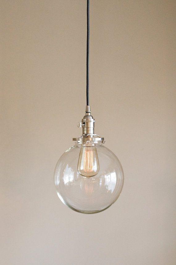 "pendant light fixture 8"" round clear glass globe **SALE** coupon code ""tenpercent"" for 10 percent off"