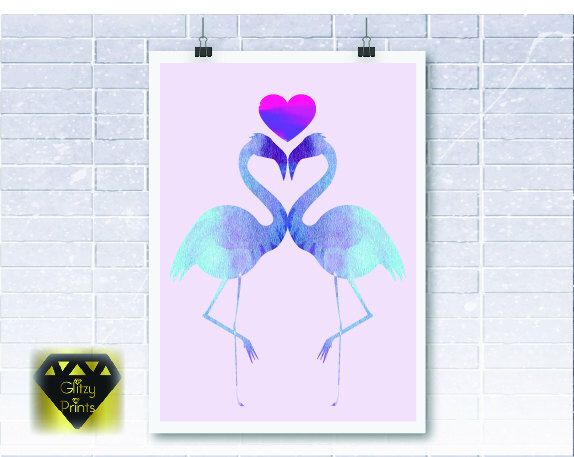 A personal favorite from my Etsy shop https://www.etsy.com/listing/252735721/flamingo-watercolour-pastels-print-wall