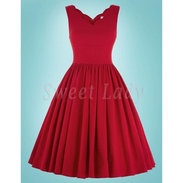 Červené šaty s áčkovou sukňou vo vintage štýle