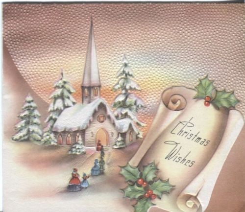 Vintage card church scene st Christmas.
