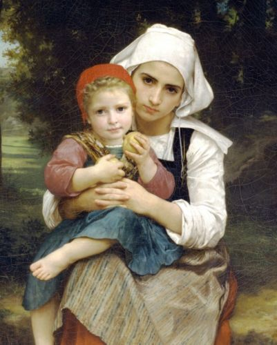 YOUNG-SISTER-WOMAN-GIRL-HOLDING-LITTLE-BOY-BROTHER-OIL-PAINTING-ART-CANVAS-PRINT