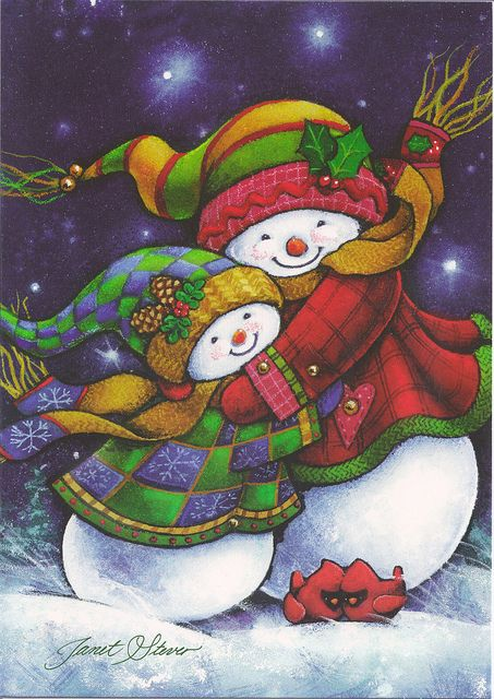 Snowman Hugs Christmas by Mailbox Happiness-Angee at Postcrossing, via Flickr