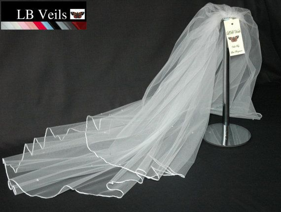Cream Wedding Veil Crystal Diamante Edge Any Length Or Colour