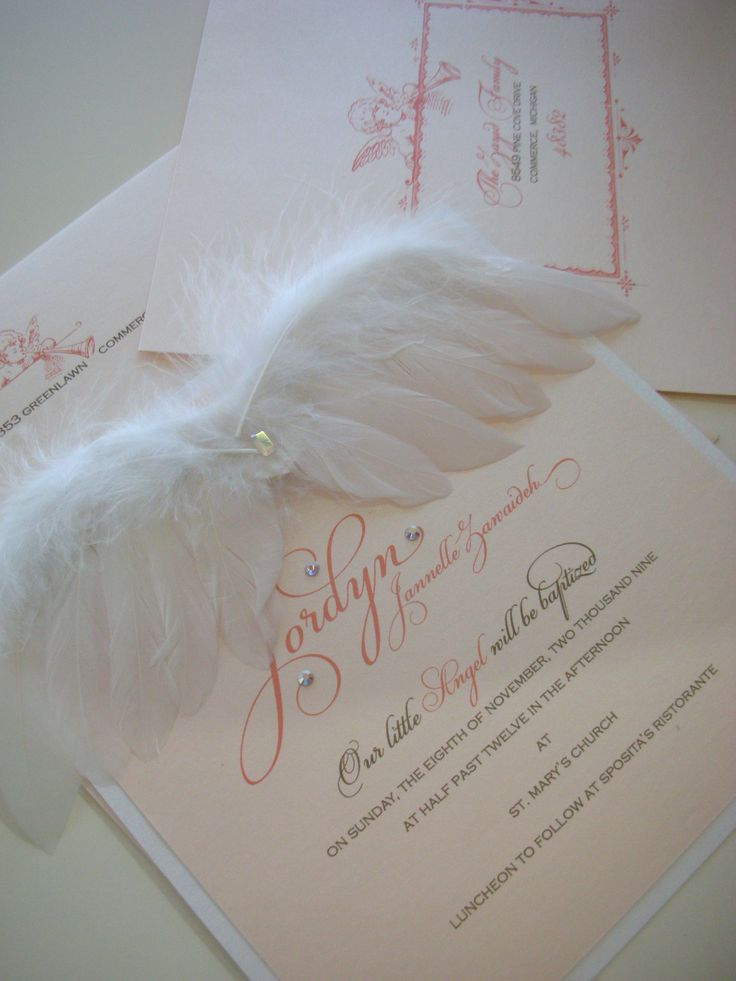 """""""Angel Baby"""" Baby Announcement, christening or shower invitation. Soft wings and crystal or pearl accent. xo Embellishments Invitations"""