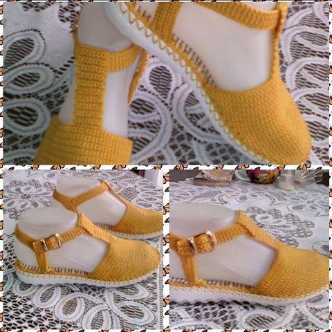 Zapatos tejidos. #hechoencolombia#tejidos  Artesanal#hechoamano #moderna #mostaza#tallas #colores #comodos .