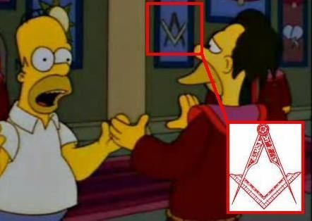 Masonic square and compass in The Simpsons.  (entertainment industry is ruled by satanic illuminati masonic cruel elite who shows many things beforehand to us)