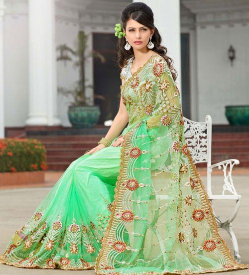 Green Color Net Indian Saree TRKS110. Sale: $127.30