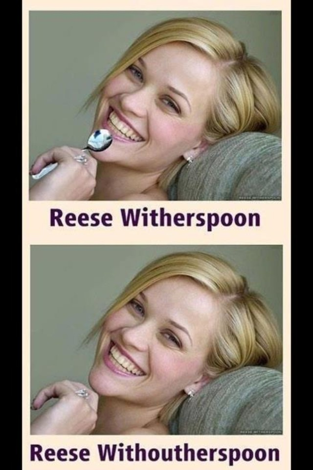 LOL With...her...spoon...Reesewitherspoon, Reese Witherspoon, Laugh, Funny Stories, Ree Witherspoon, Funny Celebrities, So Funny, True Stories, Funny Memes