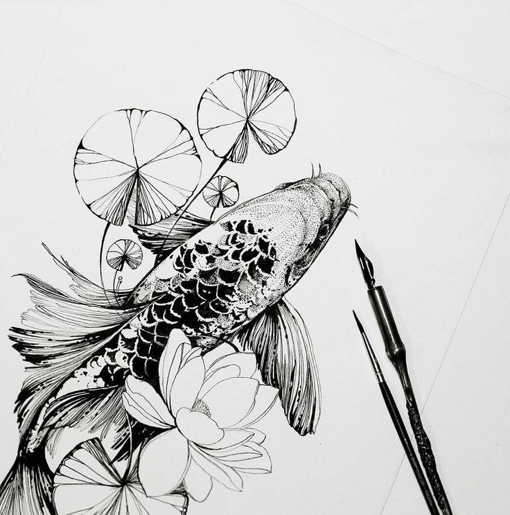 Line Drawing Year : Schöne koi karpfen tattoo ideen auf pinterest