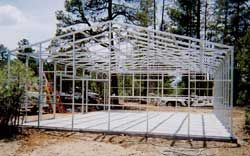 A stand alone steel frame straw bale steel frame for Straw bale garage plans