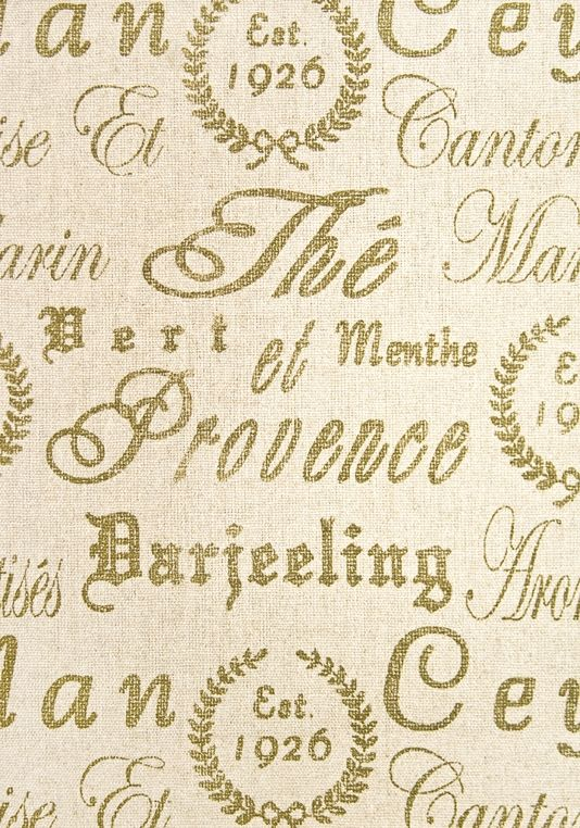 Tea Print Upholstery Fabric Neutral Linen Upholstery