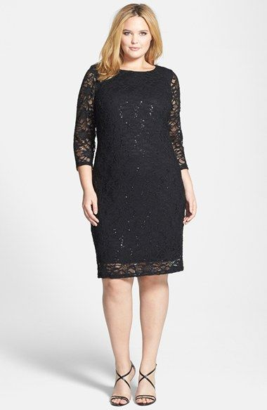 Marina Embellished Sequin Stretch Lace Dress (Plus Size) available at #Nordstrom