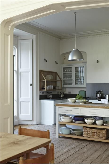 An inspirational image from Farrow and Ball  Walls- Strong White 2001 Modern Emulsion Cabinets Blackened - Estate Eggshell Ceiling- All White - Estate Emulsion counter tops-  Off Black