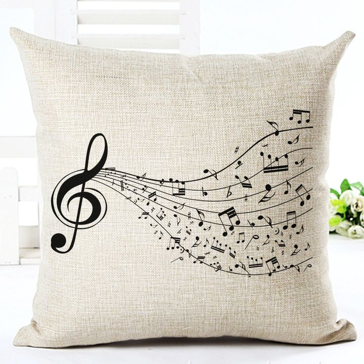 High Quality Fashion Style Cotton Linen Cushion Music Score Print Home Decor Cushion Bed Car Throw Pillows Decorative Cojines