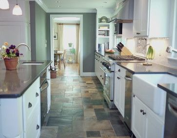 cream color kitchen cabinets and slate floor | white and grey