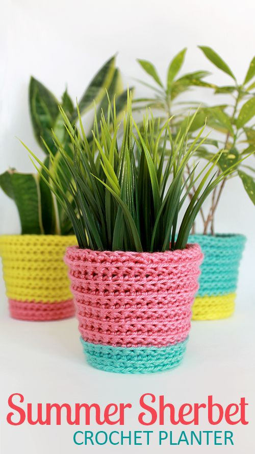 Joyful crochet planter cover, reminds me of bright rainbow sherbet -- perfect…