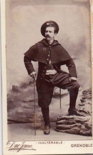 Carte-de-visite-cdv-Duc-Jeune-Grenoble-militaire-uniforme-chasseur-alpin