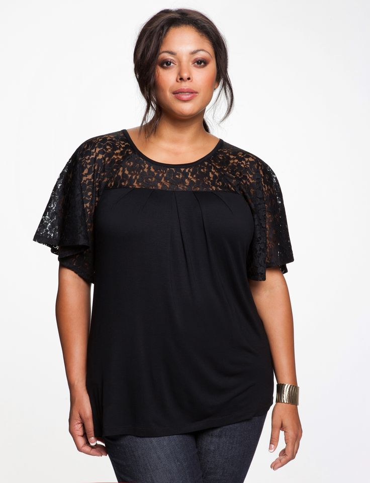 Lace Batwing Top - Women's Tops & Shirts & Plus Size Tops & Shirts - eloquii by The Limited