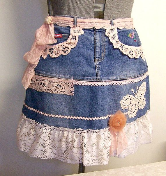 LADIES HALF APRON Recycled and Re-Purposed Denim and Pink Lace, Boho, Shabby and…