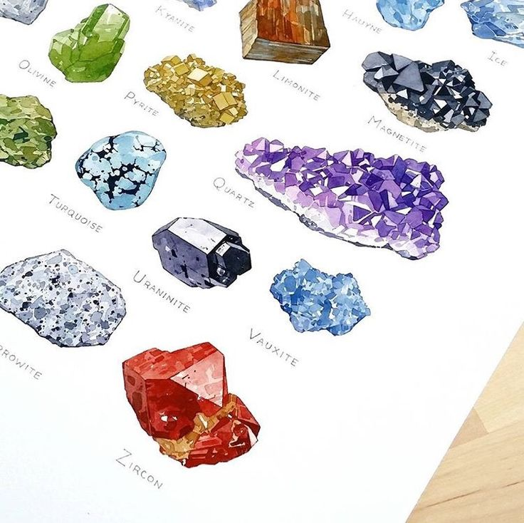 "mineraliety: "" Available on Mineraliety in the dswatercolors shop is this A-Z mineral illustration poster. Featured minerals are: Azurite, Beryl (green variety aka Emerald), Copper, Dolomite, Erythrite, Fluorite,Garnet, Hauyne, Ice, Jadeite, Kyanite,..."