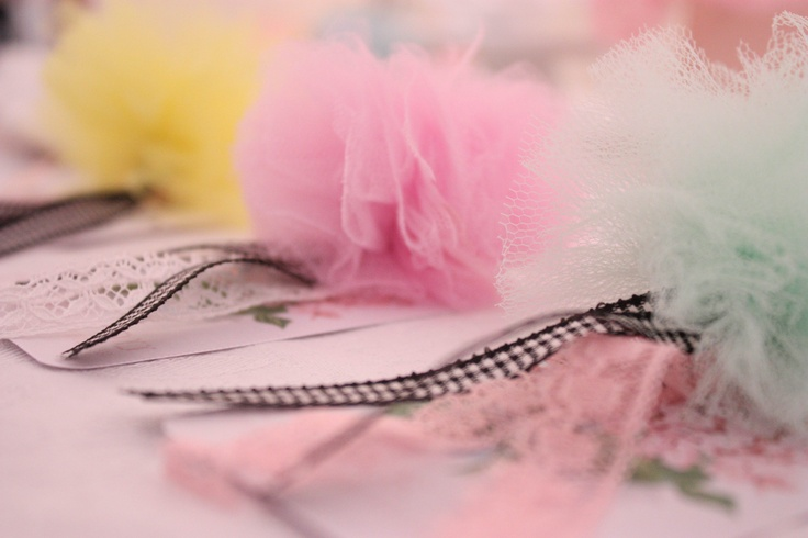 handmade  romantic pom poms with pastel tulle,lace and ribbon.