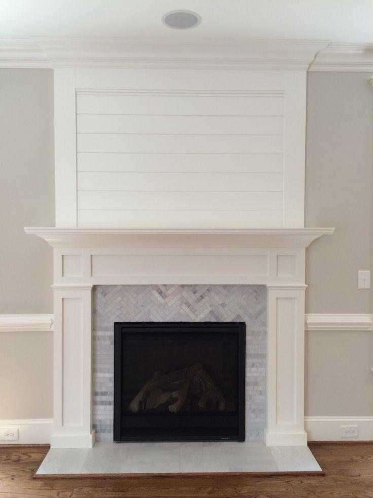 Trim Detail Herringbone Marble Fireplace Remodel Home