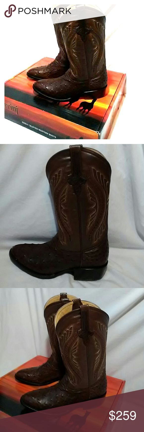 NIB Men's Ferrini OSTRICH western cowboy boots quality ostrich cowboy boots by Ferrini....BRAND NEW with box. Beautiful chocolate brown ostrich and upper is also chocolate brown! Ferrini Shoes Cowboy & Western Boots