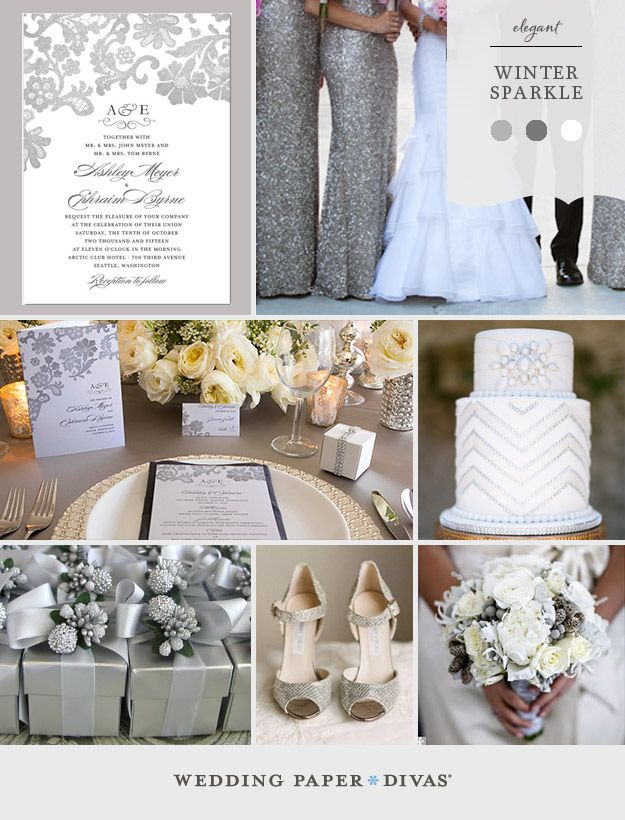 How pretty is this winter wonderland inspiration board our friends at @Judy Clark Paper Divas  put together? Winter brides and grooms, take note!