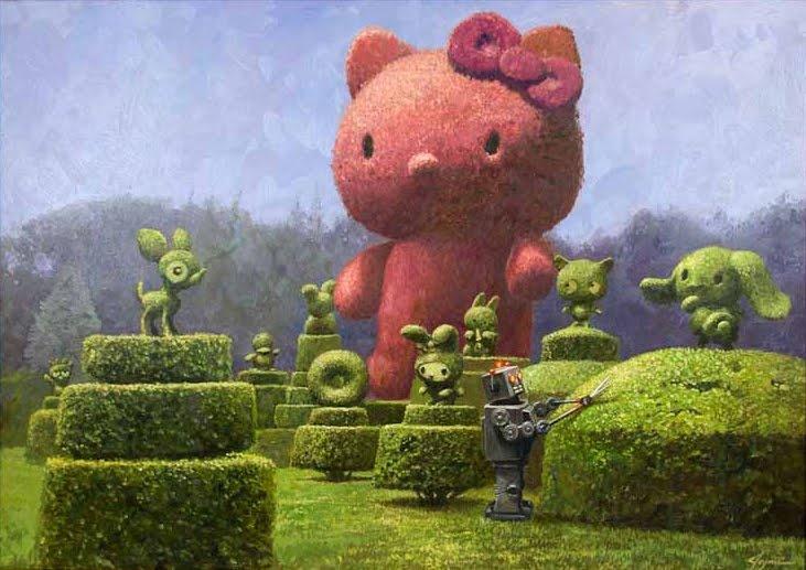 hello kitty: Eric Joyner, Robots, 50Th Anniversaries, Art Show, Hello Topiaries, Small Gifts, Hellokitti, Hello Kitty Art, Dream Gardens