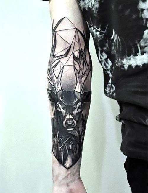 geyik kol dövmeleri erkek geometrick deer arm tattoos for men