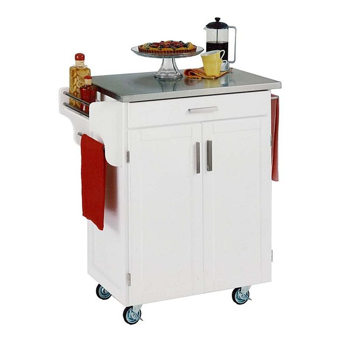 Home Marketplace Small Kitchen Cart - White with Stainless Steel Top