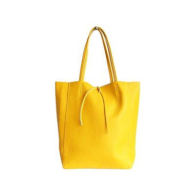 Tania Italian Yellow Leather Shopper Bag - £49.99