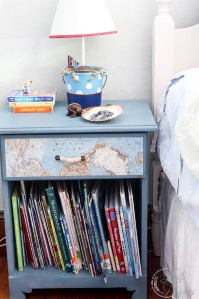Nautical Bedside Table - with a decoupaged map inside and out.