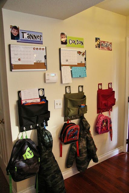 Adventures in Pinteresting: Entryway Organization for Kids  I want to do this for Clare's stuff! She is always looking for her coat in the winter/fall and the backpack... oh dear!
