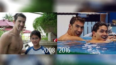 Joseph Schooling meets Michael Phelps in 2008 then beats him in 2016 at the Rio…
