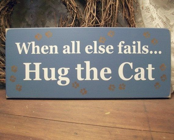 Hug the Cat Funny Wood Sign Painted Plaque