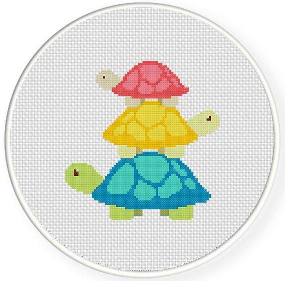 Turtle Tower PDF Cross Stitch Pattern Instant by DailyCrossStitch