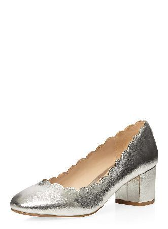 Dorothy Perkins Womens Silver Destiny Scalloped Court Shoes- Silver leather look scalloped edge ballerina 2 block heel court with a studded back detail. 100% Polyurethane. http://www.MightGet.com/january-2017-13/dorothy-perkins-womens-silver-destiny-scalloped-court-shoes-.asp
