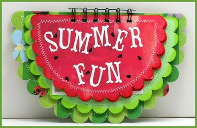 Summer Watermelon Mini Scrapbook Album done in bright juicy colors.  By Scrap Your Memories By Rhonda http://www.myscrapchick.com/product.cfm?product=170