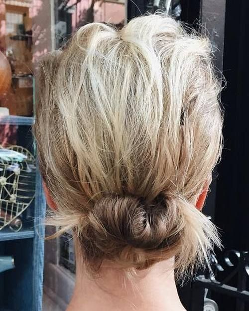 low messy updo for short hair