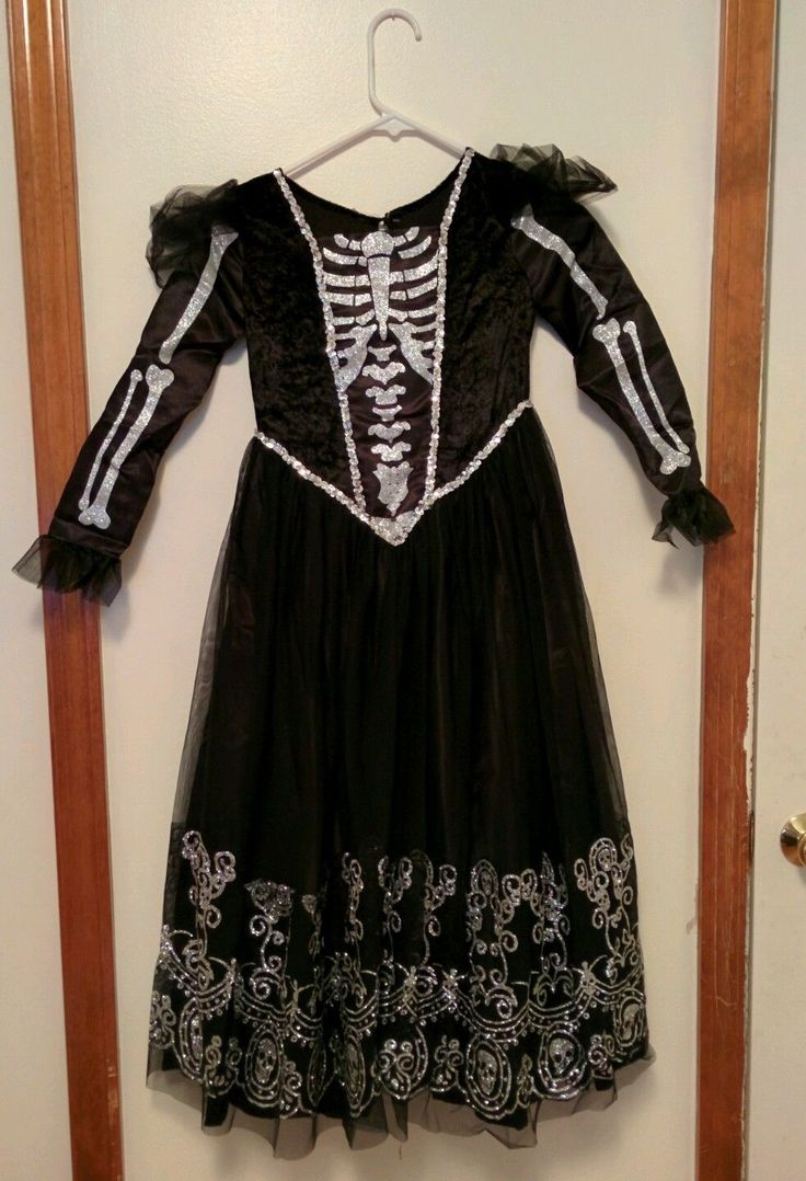 Skeleton Princess Girls Costume Sz 8 Chasing Fireflies Black Dress Halloween | eBay