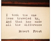 Robert Frost Framed Quote Made On Typewriter