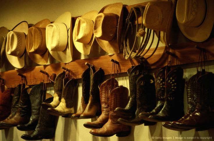Image detail for -Cowboy boots and hats hanging on wall