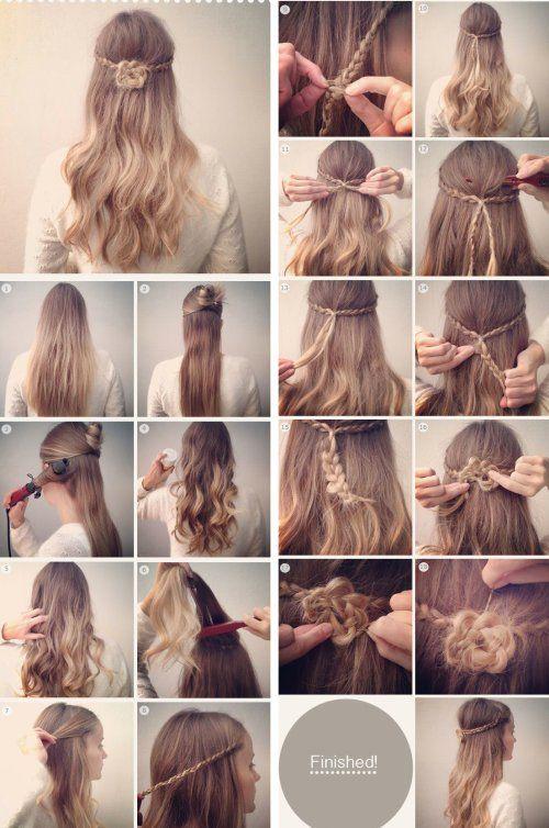 Un peinado bonito y original, semi recogido con un flor de trenzas y pelo suelto, paso a paso.