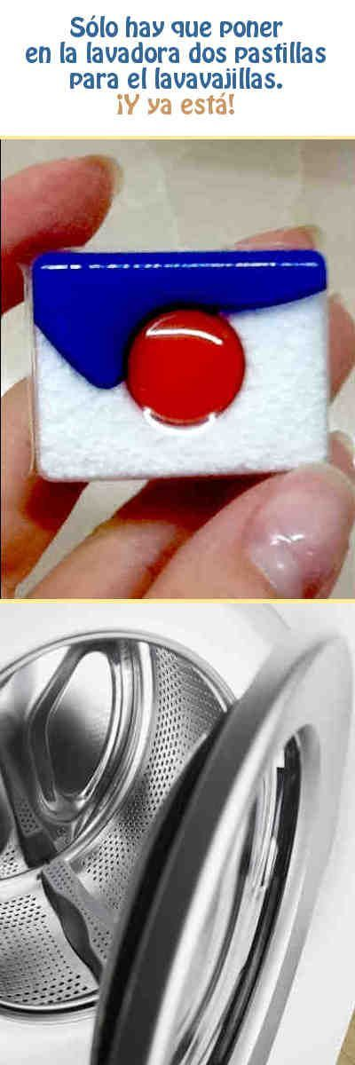 Sólo hay que poner en la lavadora dos pastillas para el lavavajillas. ¡Y ya está! #limpieza #lavadora #tips #DIY